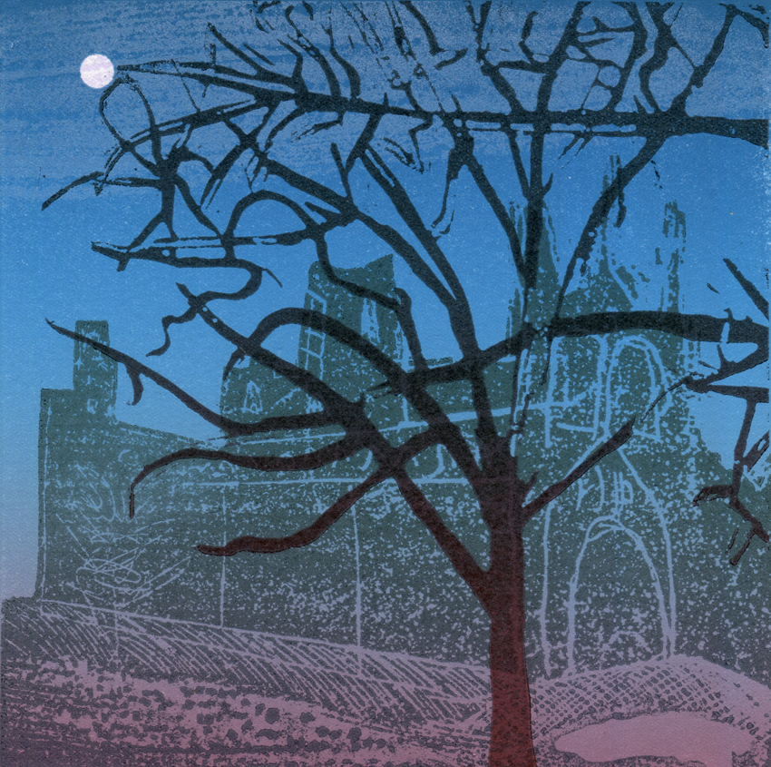 Artwork - Cristall Moon Etched and cut lino Print | Steve Edwards - Etched and cut lino