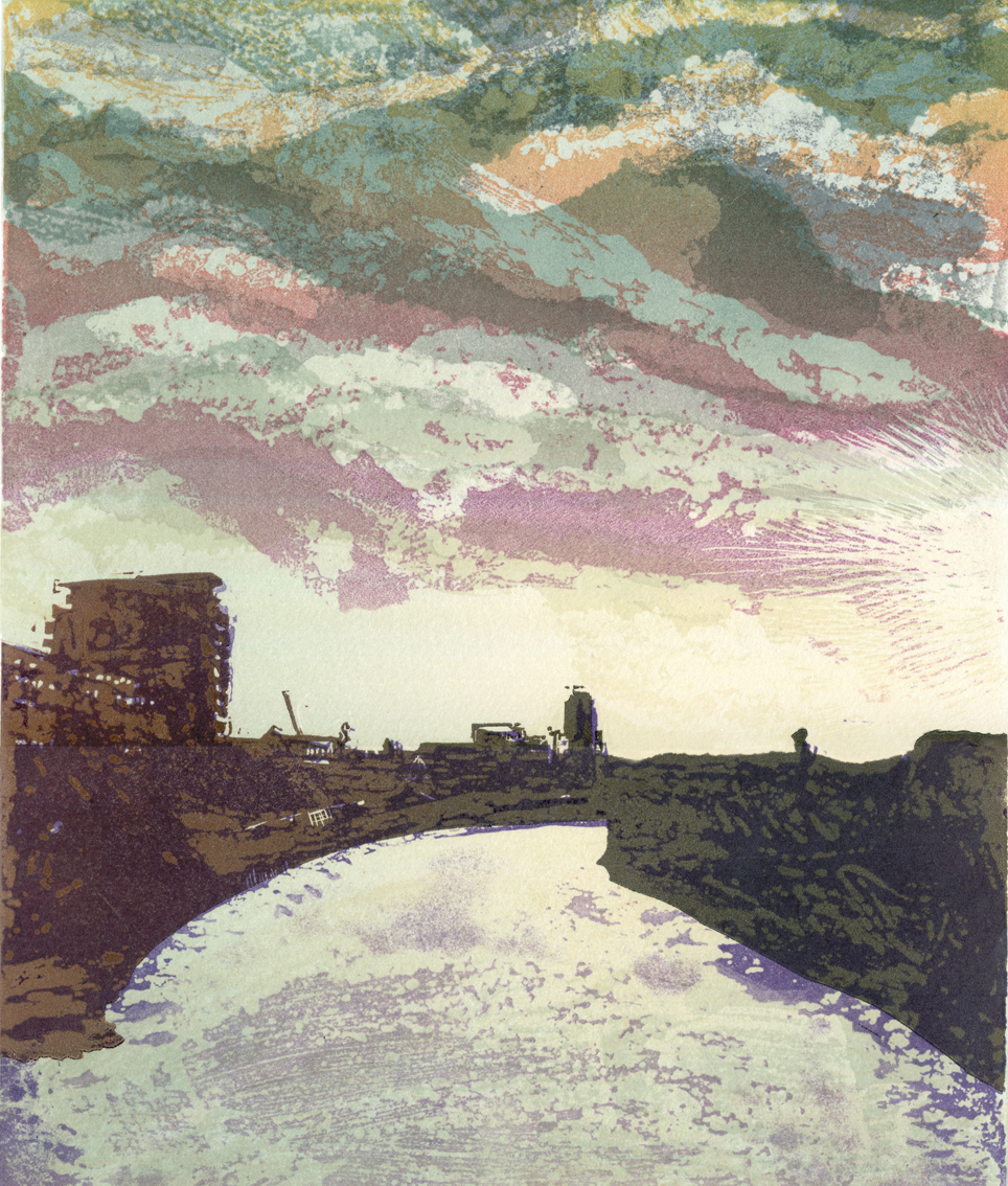 Artwork - Deptford Creek - South etched and cut lino Print | Steve Edwards - etched and cut lino