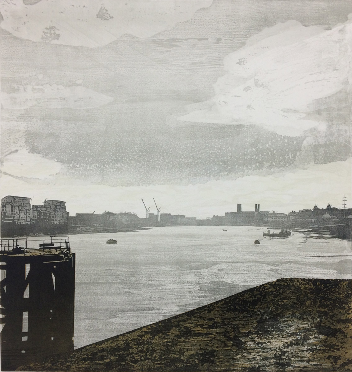 Artwork - Dockyard - East etched and cut lino Print | Steve Edwards - etched and cut lino