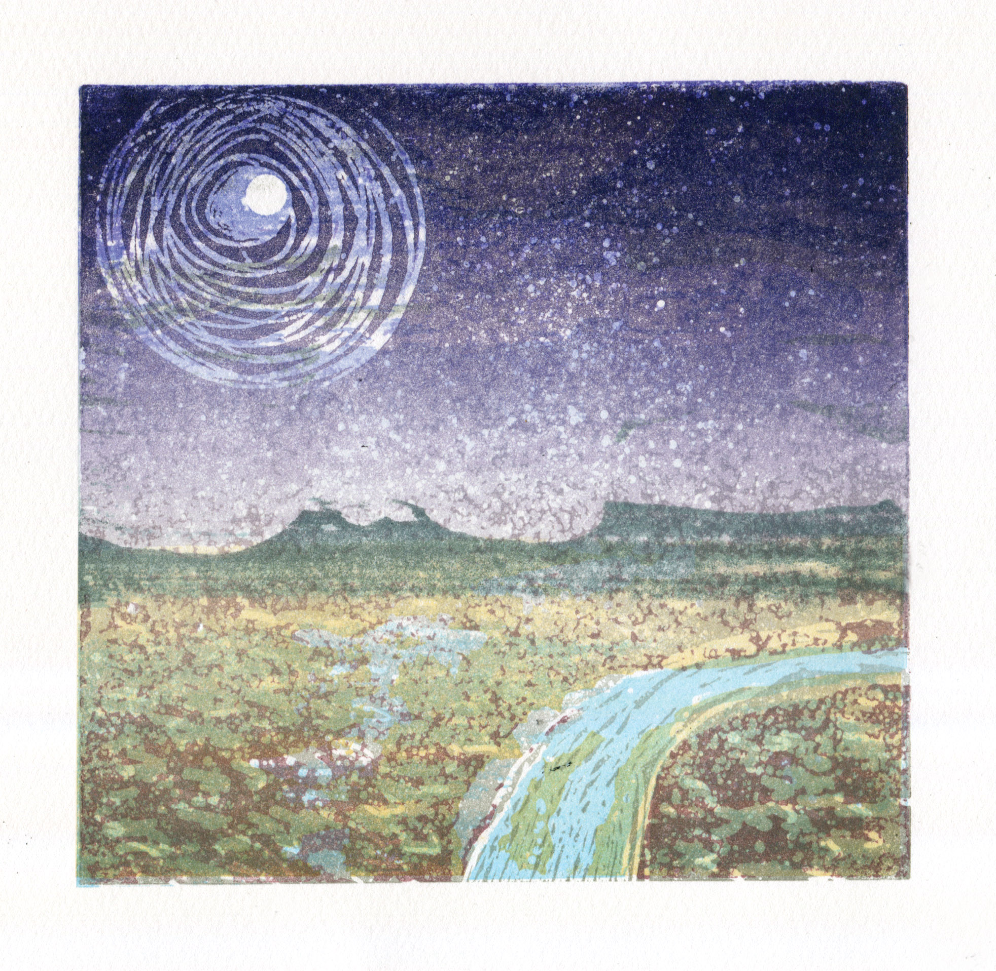 Artwork - Estuary Moon etched and cut lino Print | Steve Edwards - etched and cut lino