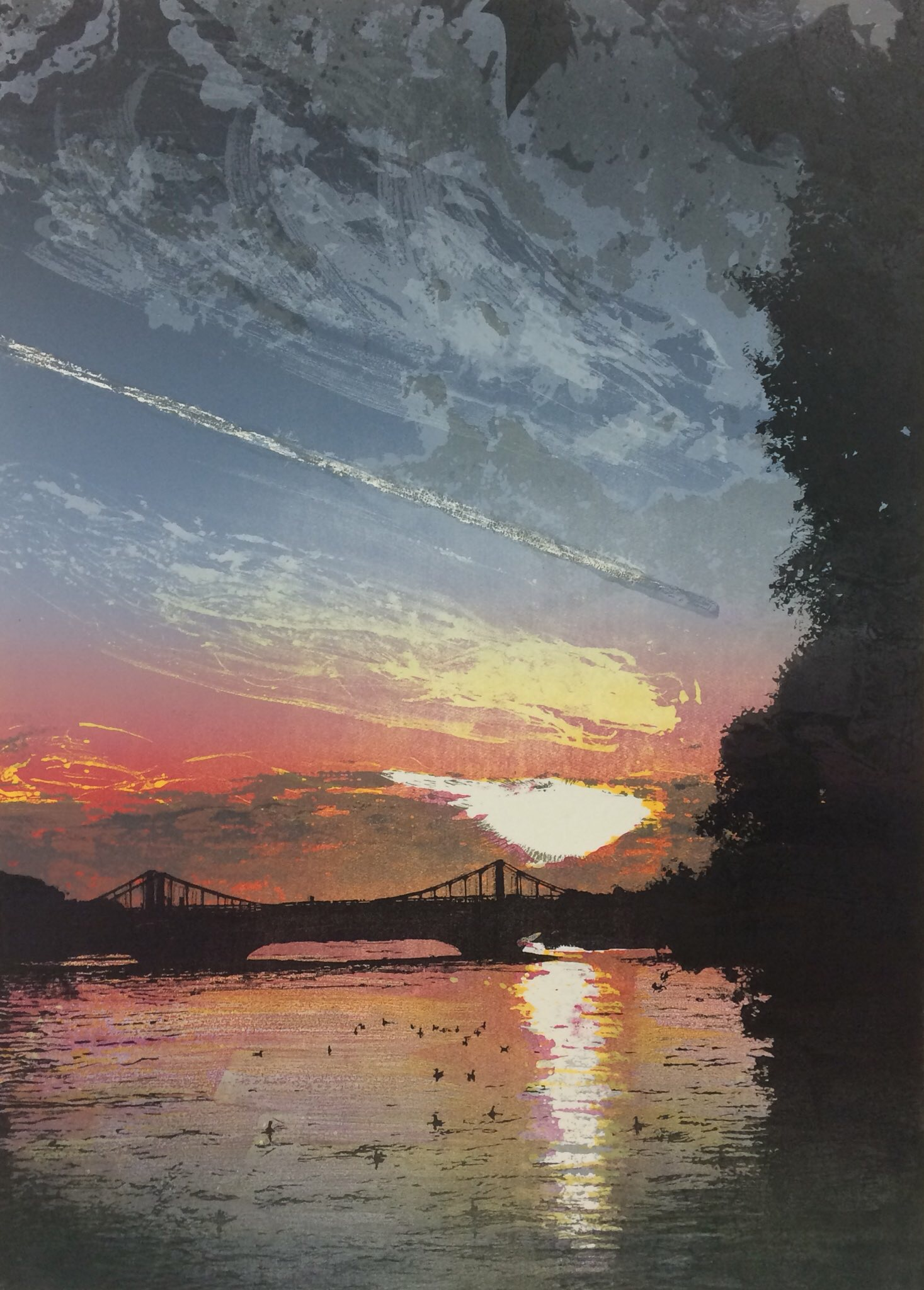 Artwork - Chelsea Bridge - Sunset etched and cut lino Print | Steve Edwards - etched and cut lino