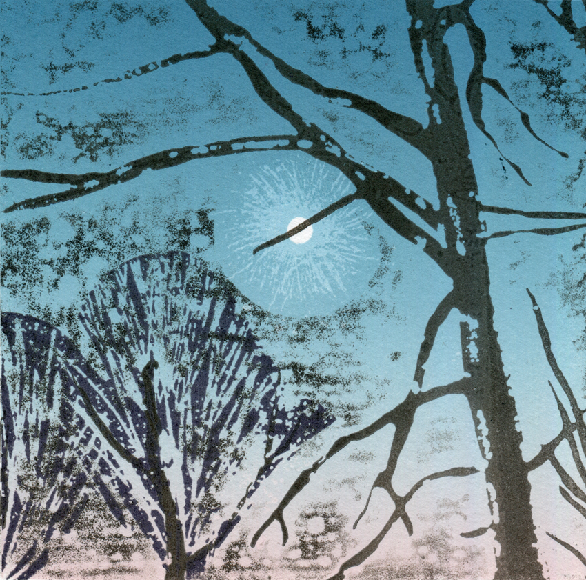 Artwork - Norfolk Moon Etched and cut lino Print | Steve Edwards - Etched and cut lino