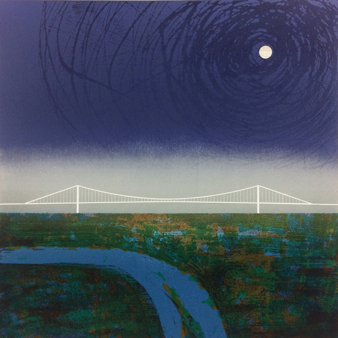 Artwork - Severn Moon II etched and cut lino Print | Steve Edwards - etched and cut lino