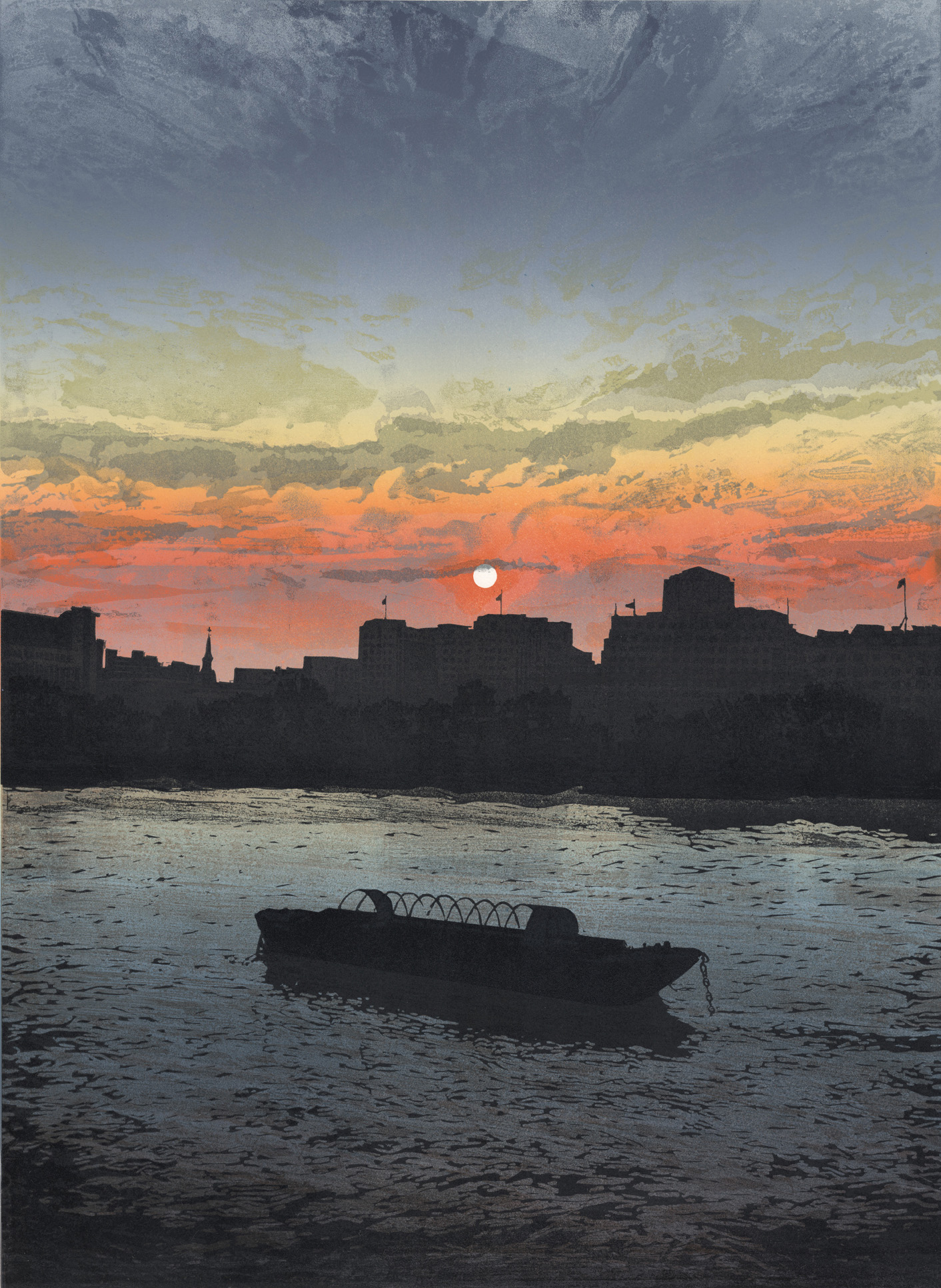 Artwork - Southbank - Sunset etched and cut lino Print | Steve Edwards - etched and cut lino