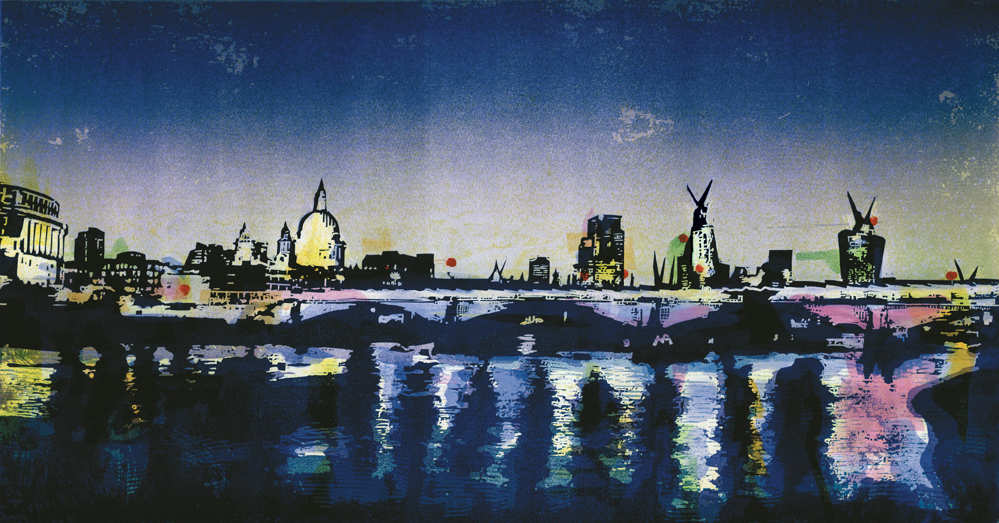 Artwork - Stamford Wharf - East monoprint and lino Print | Steve Edwards - monoprint and lino