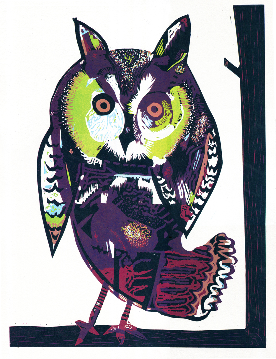 Artwork - West Country Owl Reduction Linocut Print | Steve Edwards - Reduction Linocut