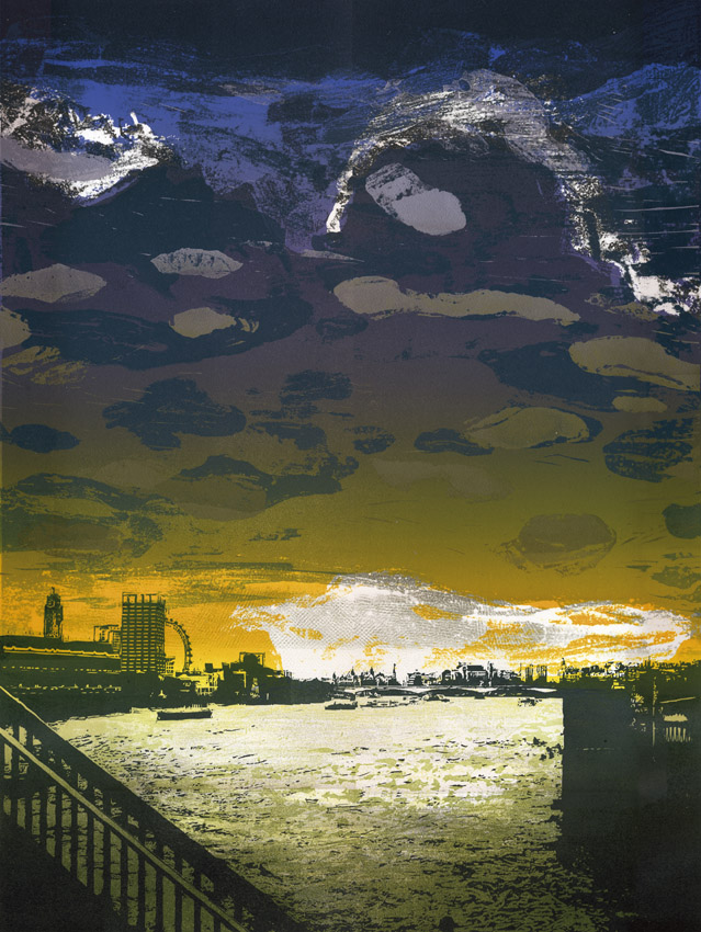 Artwork - Blackfriars - West etched and cut lino Print | Steve Edwards - etched and cut lino