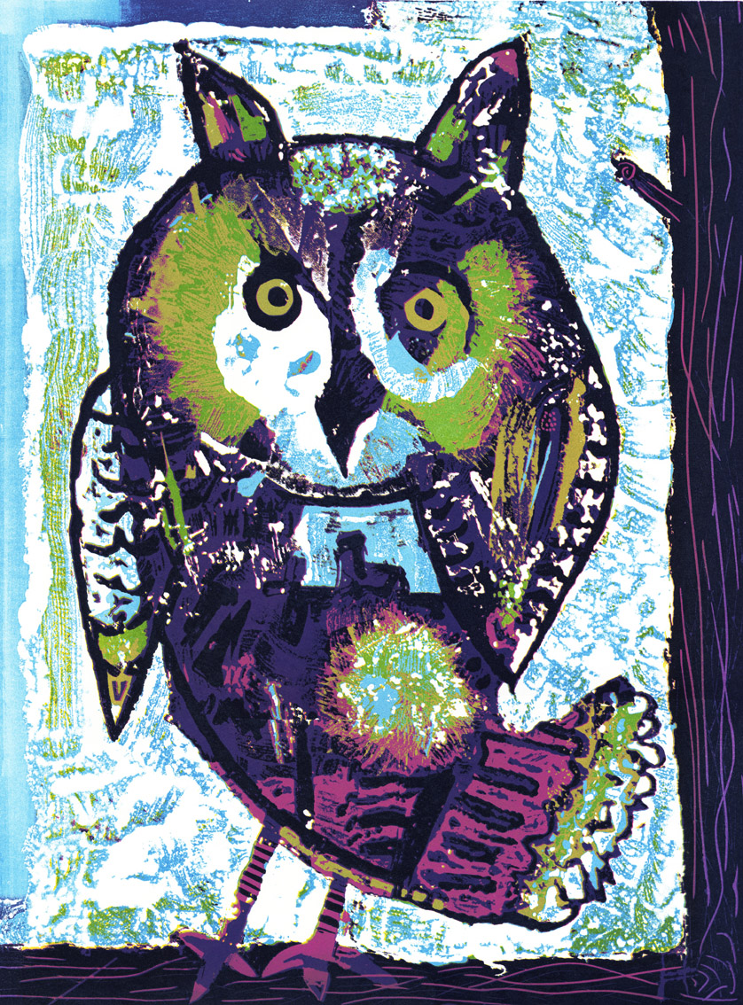 Artwork - Cumbrian Owl reduction etched lino Print | Steve Edwards - reduction etched lino