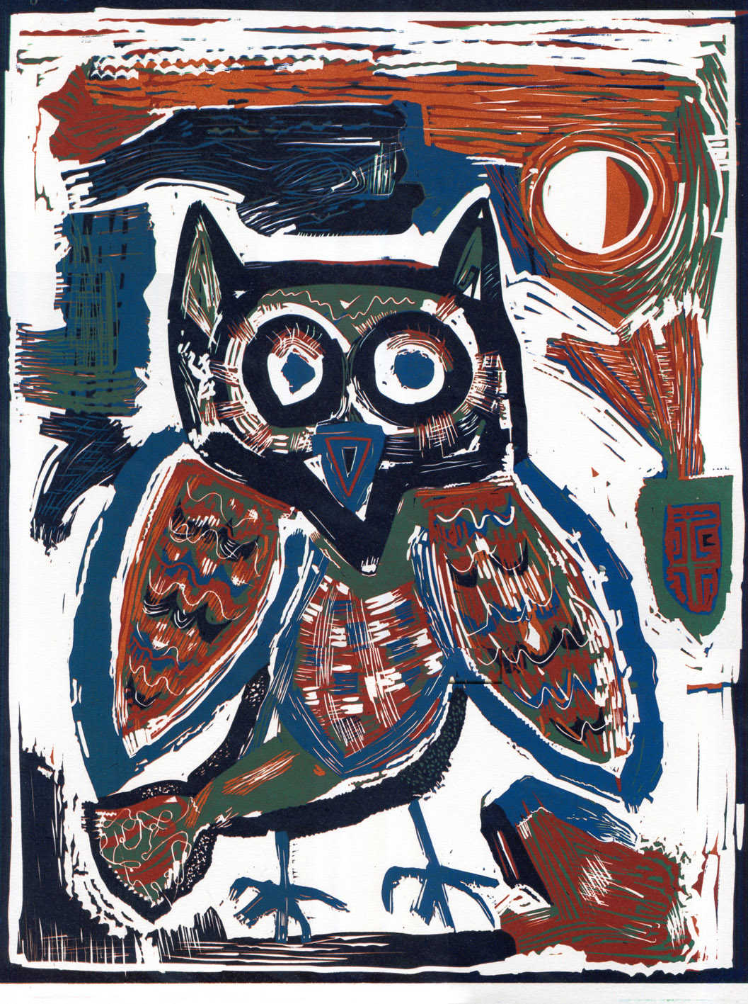 Artwork - Owl Transfixed I reduction linocut Print | Steve Edwards - reduction linocut